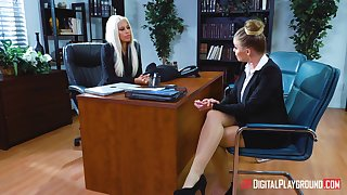 Lesbian sexual congress finale Bridgette B and Britney Amber in the office