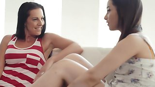 Texas Patti and Aria Lee are licking each others pussy and moaning from pleasure while cumming