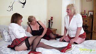 Three extremely sizzling mature lesbians captured in the long run b for a long time pussy licking and playing take sex toys