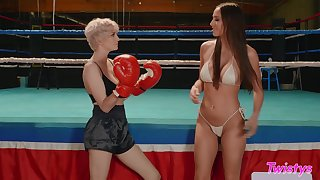 Desiree Dulce and Skye Blue love boxing and licking wet pussy
