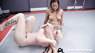 Rough Lesbian Wrestling, Red August Strapon Fucks Leya Falcon