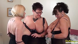 OldNannY Auntie Trisha Threesome Tribadic Party Masturbation