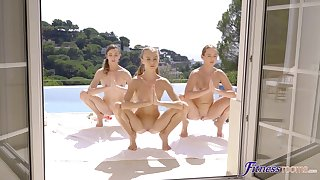 Young lesbians have a sexy triad limitation outdoor workout