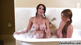 Sara Stone breasts barely fit in my mouth Catalina Cruz eats pussy
