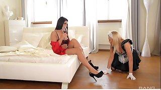 Lesbian sex with botheration poking between Zafira Klass and Lindsey Olsen