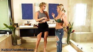 AC/DC masseuse Val Dodds gives a nuru massage to sexy blonde Jessa Rhodes