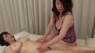 Two Asian matures drop their clothing to have a weirdo lesbian carnal knowledge
