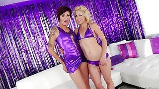 Video of kinky girls Holly Hanna and Sinful playing around anal toys