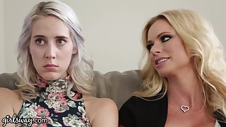 Stepmom and her bestie seduce that young woman into having a lesbian trilogy