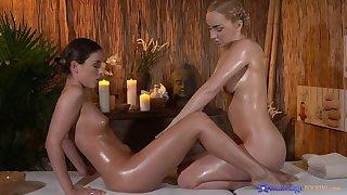 Hot teen lesbians fingerbang at one's fingertips spa