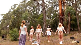 Charming babes take off their panties for outdoors yoga opportunity