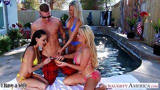 Fastened impoverish fucks several bikini girls Nikki Benz, Jessica Jaymes and Emma Starr