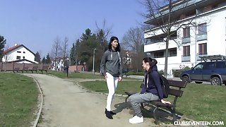 Two be in charge cute teen girls explore their pussies close by fingers
