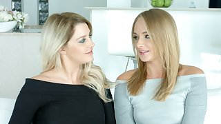 Two sex-appeal blue eyed blondes give an employ