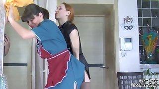 Housemaid d By Her Lesbian Houseowner To Take Strapon Up Her Ass