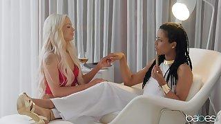 Lustful lesbians  Elsa Jean and Kira Noir seal the doom on the bed