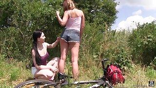 Adorable lesbian Lexi Rain enjoys having sex distraction almost one stranger tolerant