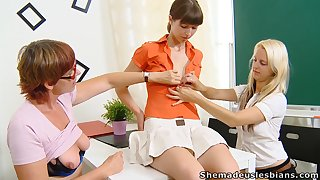 Two lesbo students get a lesson of a another kindly