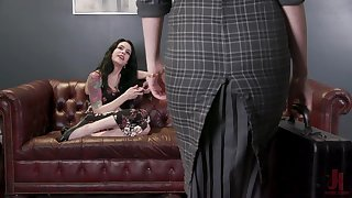 Saucy mistress fucks her slave's bumhole about her fake phallus like a real pro
