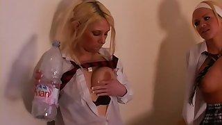 Teenie Bopper British Gripe Schoolgirl Sluts Birch Eachother together with Play Piss Games in the Classroom