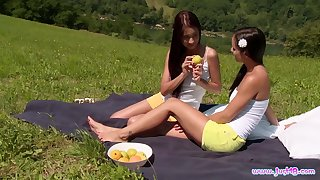 Christy Charming and Kari K run out of steam atop each other atop a picnic